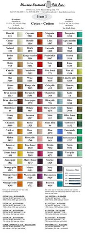 Maurice Brassard Sample Colour Card - Australia