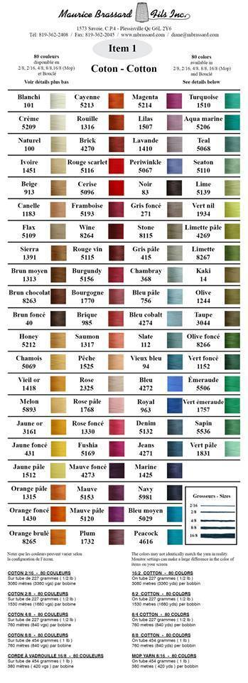 Maurice Brassard 100% Cotton Colour Card