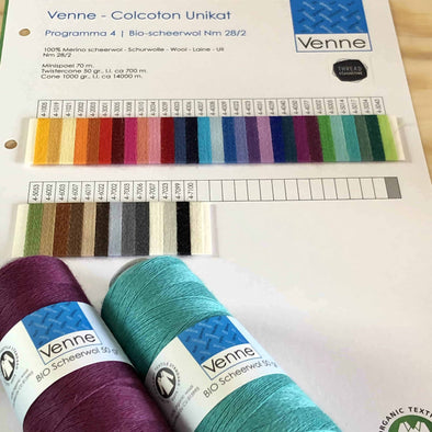 Venne Organic Merino Wool sample colour card Australia