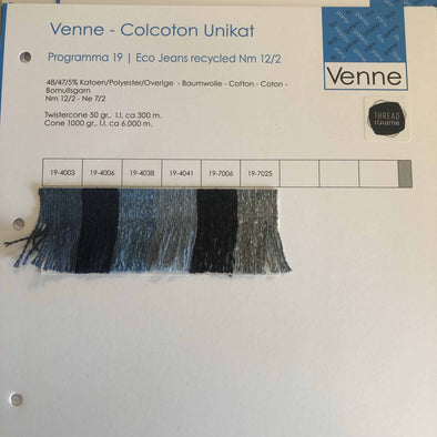 Eco Jeans Recycled Sample Colour Card - Venne Nm 12/2