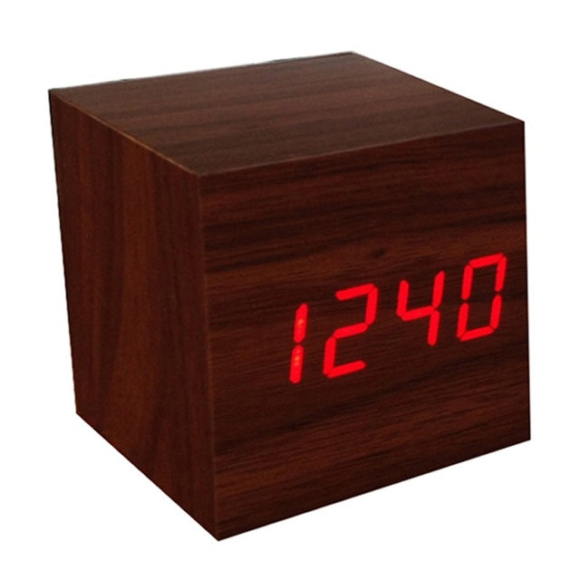 Sound Controlled Wooden Square LED Alarm Clock