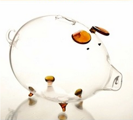 Transparent Glass Piggy Bank