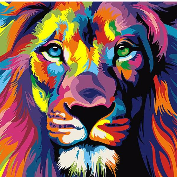 DIY Psychedelic Lion Painting