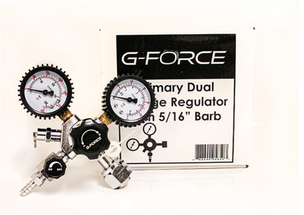 "PRIMARY DUAL GAUGE REGULATOR WITH 5/16"" BARB (G-FORCE)"
