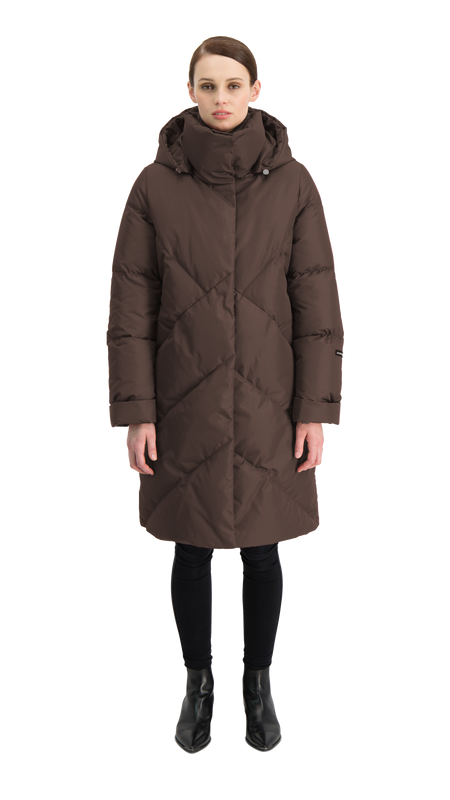 LAULU DOWN COAT - Joutsen - dark brown