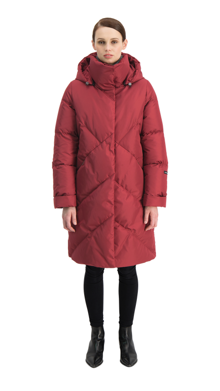 LAULU DOWN COAT - Joutsen - Dark Red