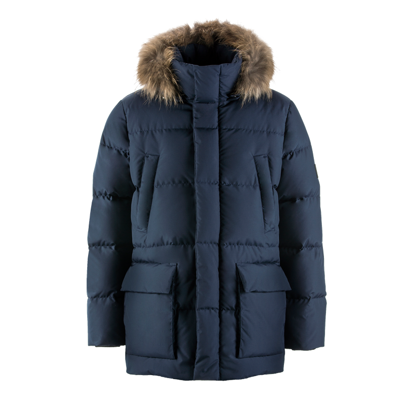 TAISTO FUR DOWN COAT - Joutsen - blue