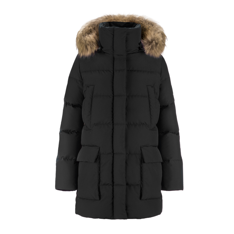 TARU FUR DOWN COAT - Joutsen - black