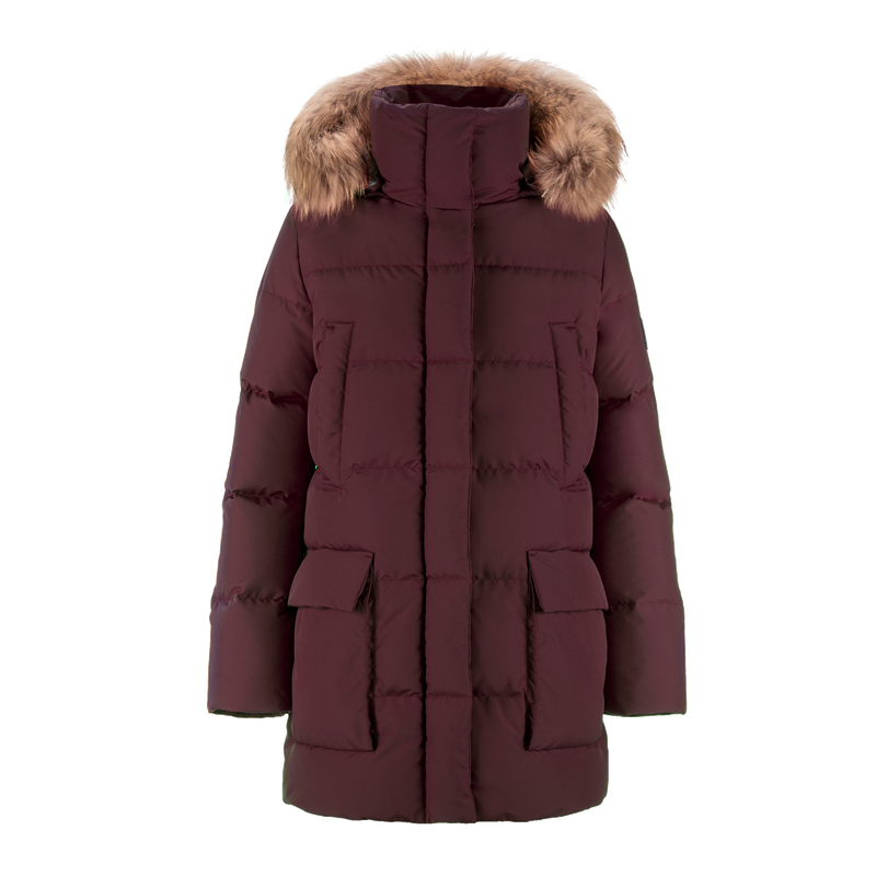 TARU FUR DOWN COAT - Joutsen - Ruby wine