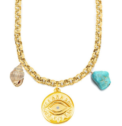 Necklace Alicia Gold Plated Eye/ Shell/ Turquoise 45cm