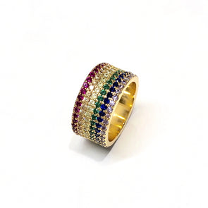 Wide Rainbow Ring Wit Gold Frame 7