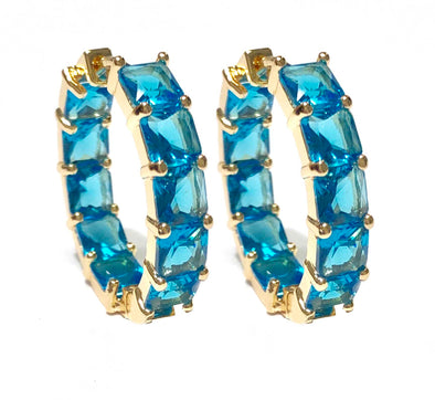 Blue Square Crystal Earrings Gold Plated