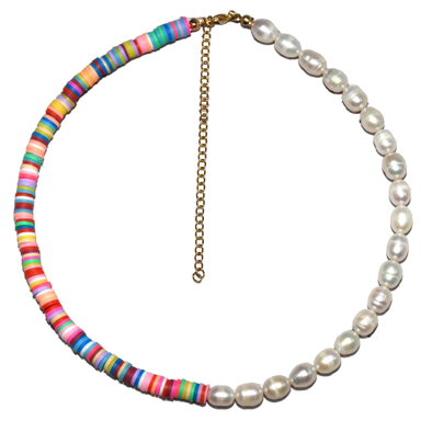 Eden Surfer And Pearl Necklace Pink