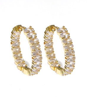 Oval White Earrings Gold Plated