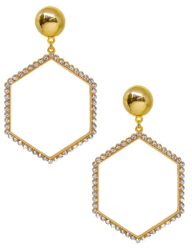 Crystal Hexagon Hoop Earrings In Gold