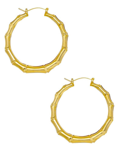 Bamboo Hoop Earrings In Gold