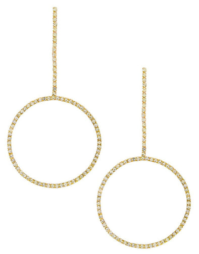 Crystal & Gold Linear Circle Drop Earring