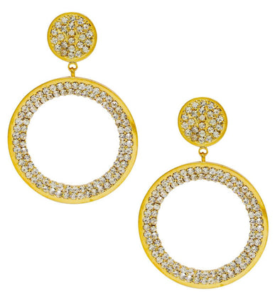 Crystal Pave Drop Hoop Earrings In Gold