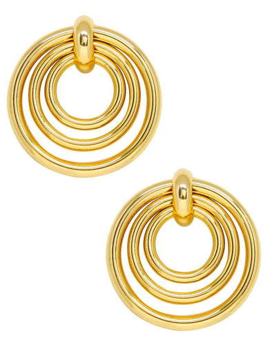 Layered Multi-Ring Earrings In Gold