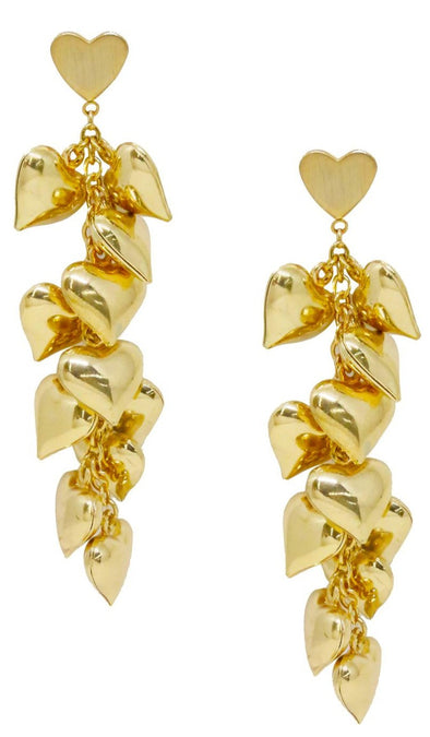 Heart Cluster Drop Earrings In Gold