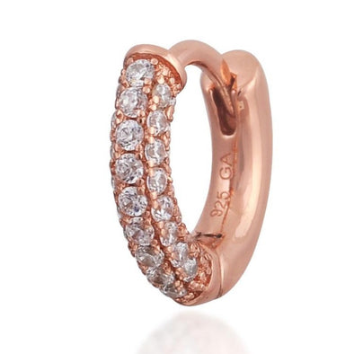 Three Rows Pave Pink Gold Vermeil Huggie