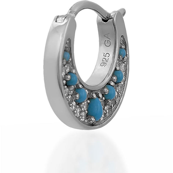 Crescent Turquoise Sterling Silver Huggie