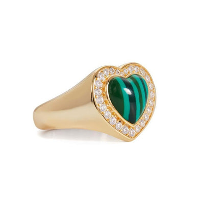 Malachite Heart Ring 925 Strl Slvr 4,76Gr Gold Pl