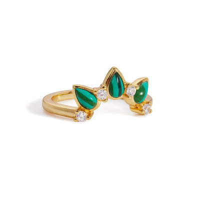 Malachite Poire Ring 925 Strl Slvr 2,45Gr Gold Pl