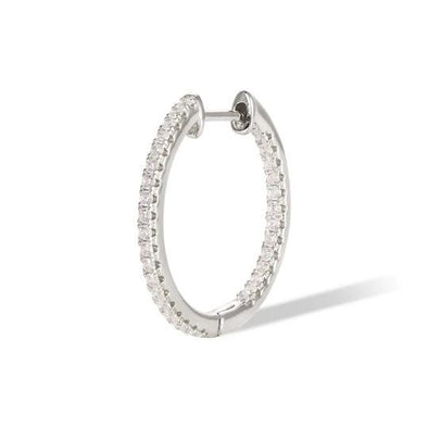Simple Pave Hoop 18Mm 925 Strl Slvr 2 Gr Wh Rh
