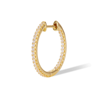Simple Pave Hoop 18Mm 925 Strl Slvr 2 Gr Gold Plat