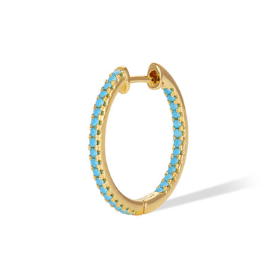 Simple Pave Hoop 18Mm 925 Strl Slvr 2 Gr Gold Pl T