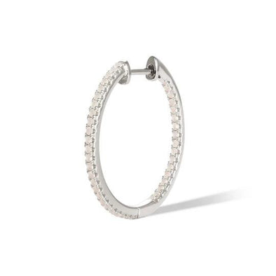 Simple Pave Hoop 22Mm 925 Strl Slvr 2,5 Gr Wh Rh O