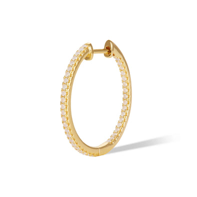Simple Pave Hoop 22Mm 925 Strl Slvr 2,09 Gr Gold Plated