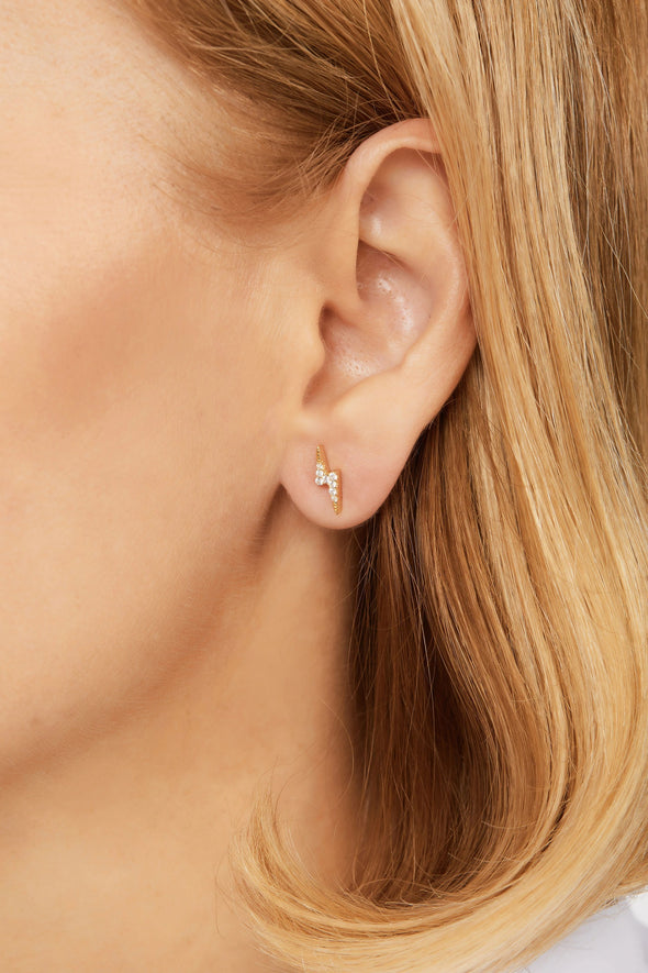 Bolt Pink Gold Vermeil Stud Single Earring
