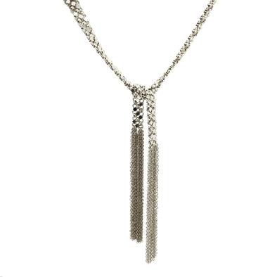 Tie Necklace Gloria Silver Mat 75.5 cm