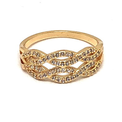 Braided Ring Gold/ White Crystal