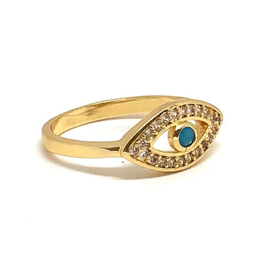 Evil Eye Pinky Ring Gold/ White Crystals With Turquoise