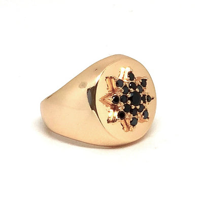 Flower Pinky Ring Gold/ Black Crystal