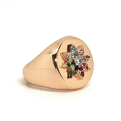 Flower Pinky Ring Gold/ Multi Crystal