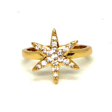 Simple Star Ring Gold/ White Crystals