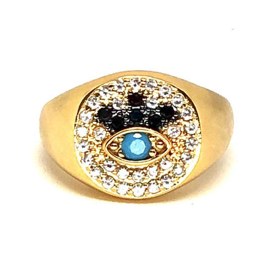 Signet Pinky Ring Gold/ White Black Blue Crystal Adjustable