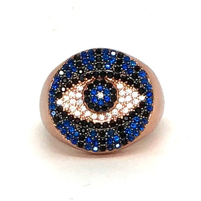 Blue Round Evil Eye Ring Rose Gold/ Multi Crystal