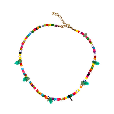 Andrea Glass Beads Necklace with Leaves Charms Multi 39cm