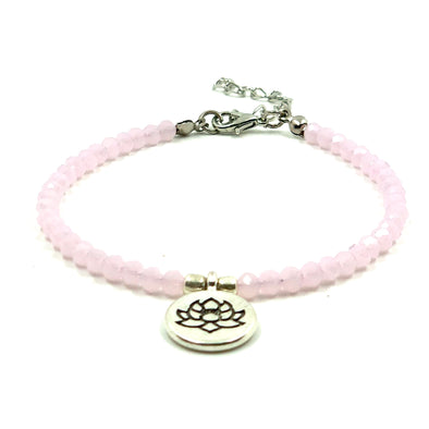 Pink Beaded Anklet with Water Lily Charm