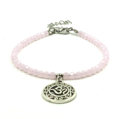 Pink Beaded Anklet with Calligaphy Charm