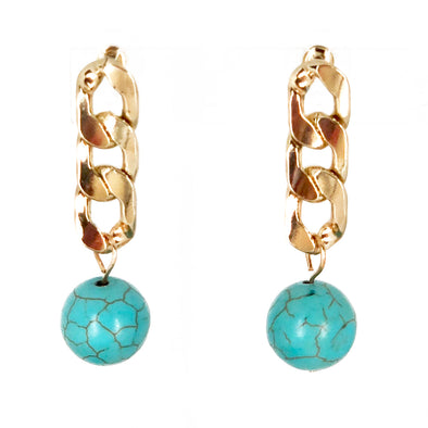 Cassandra Chain With Turquoise Bead Drop Earrings