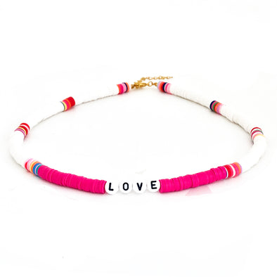 LOVE Surfer Necklace Neon Pink/ White