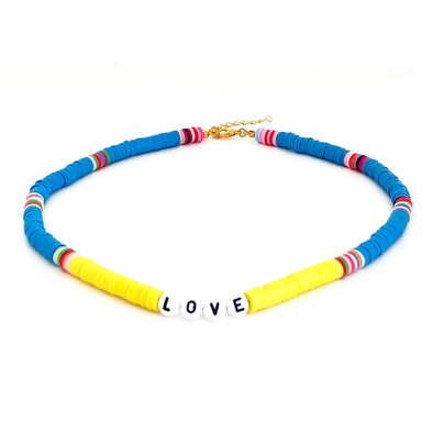 LOVE Surfer Necklace Yellow/ Blue