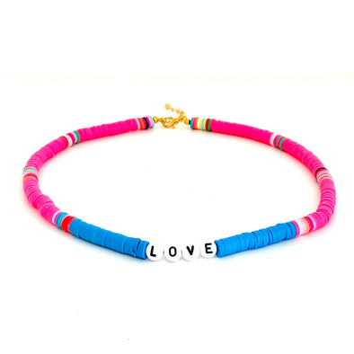 LOVE Surfer Necklace Blue/ Neon Pink