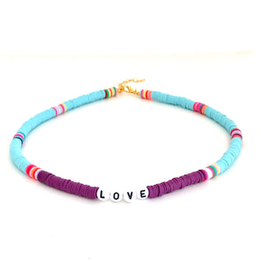LOVE Surfer Necklace Violet/ Azur
